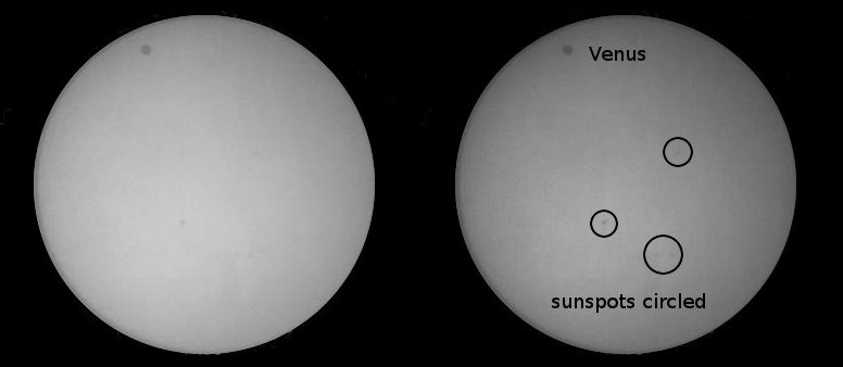 Venus transiting the Sun, June 6, 2012